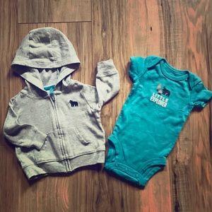 Like New! Carters Newborn Hoodie & Bodysuit